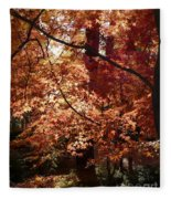 Golden Autumn Sunshine Fleece Blanket