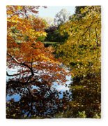Golden Autumn Trees Fleece Blanket