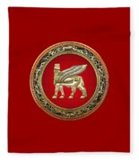 Golden Babylonian Winged Bull  Fleece Blanket