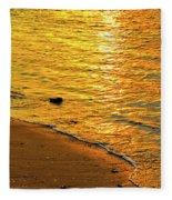 Golden Beach Sunset Fleece Blanket