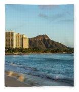 Golden Bliss On The Beach - Waikiki And Diamond Head Volcano Fleece Blanket