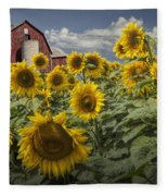 Golden Blooming Sunflowers With Red Barn Fleece Blanket