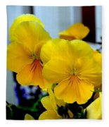 Golden Blooms Beside The Porch Fleece Blanket