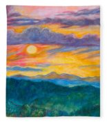 Golden Blue Ridge Sunset Fleece Blanket