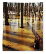 Golden Brown Frozen Pond Fleece Blanket