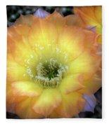 Golden Cactus Bloom Fleece Blanket