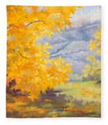Golden California Sycamores Fleece Blanket