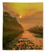 Golden Canal Morning Fleece Blanket
