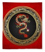 Golden Chinese Dragon Fucanglong On Red Leather  Fleece Blanket