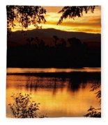 Golden Day At The Lake Fleece Blanket