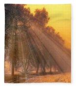 Golden Early Morning Sun Rays On The Farm Chesterhurst L B Fleece Blanket