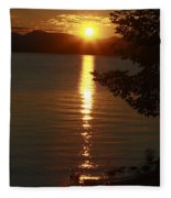 Golden Evening Sun Rays Fleece Blanket