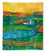 Golden Farm Scene Sketch Fleece Blanket