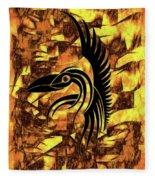 Golden Flight Contemporary Abstract Fleece Blanket