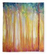 Golden Forest Hidden Unicorn - Large Original Oil Painting By Gill Bustamante Fleece Blanket