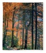 Golden Forest Path Fleece Blanket