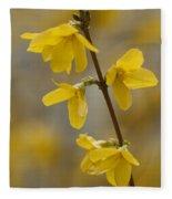 Golden Forsythia Fleece Blanket