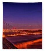 Golden Gate At Dusk Fleece Blanket