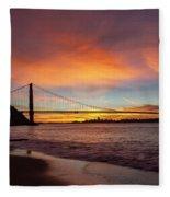 Golden Gate Bridge At Dawn Fleece Blanket