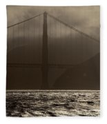 Golden Gate Bridge In The Fog, Black And White, San Francisco, California Fleece Blanket