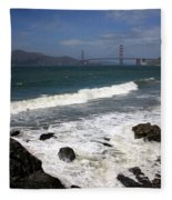 Golden Gate Bridge With Surf Fleece Blanket