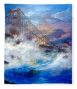 Golden Gate Sunset Fleece Blanket