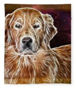 Golden Glowing Retriever Fleece Blanket