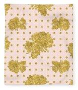Golden Gold Blush Pink Floral Rose Cluster W Dot Bedding Home Decor Fleece Blanket