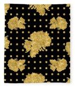 Golden Gold Floral Rose Cluster W Dot Bedding Home Decor Art Fleece Blanket