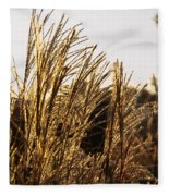 Golden Grass Flowers Fleece Blanket