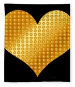 Golden Heart Black  Fleece Blanket