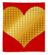 Golden Heart Red Fleece Blanket