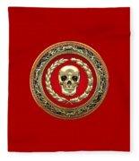 Golden Human Skull On Red   Fleece Blanket