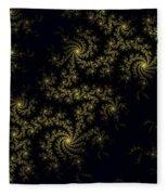 Golden Lace On Black Velvet Fleece Blanket
