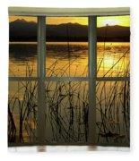 Golden Lake Bay Picture Window View Fleece Blanket