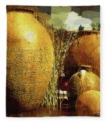 Golden Large Fountain Urns Fleece Blanket