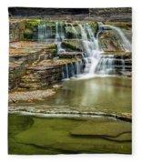 Golden Leaves And Mossy Tiers Of Enfield Glen Waterfall Fleece Blanket