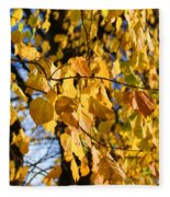 Golden Leaves Fleece Blanket