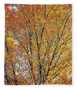 Golden Leaves - Oil Paint Fleece Blanket