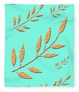 Golden Leaves On Aqua Fleece Blanket