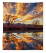 Golden Light On The Pond Fleece Blanket