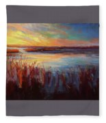 Golden Marsh Fleece Blanket