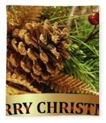 Golden Merry Christmas  Fleece Blanket