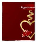 Golden Metal Frame Heart Fleece Blanket