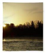 Golden Mississippi River Sunrise Fleece Blanket