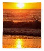 Golden Ocean City Sunrise Fleece Blanket