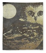 Golden Owl Fleece Blanket