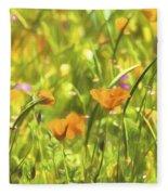 Golden Poppies In A Gentle Breeze  Fleece Blanket