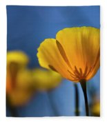 Golden Poppy Reaching For The Skies  Fleece Blanket
