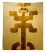 Golden Pre-columbian Figure Fleece Blanket